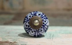 Painted Porcelain Door Knobs - Dark Blue